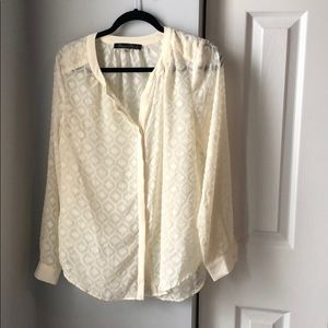 Rose & Olive Cream Button Down Blouse - S